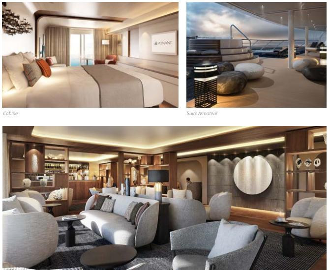 cabine suite et lounge du brise glace Ponant